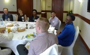 John Simon, Beth Bafford, Alexandra Broner, Niraj Varia, Laila Macharia, and Jon Porter at Investors' Circle Investor Forum: Nairobi 2015