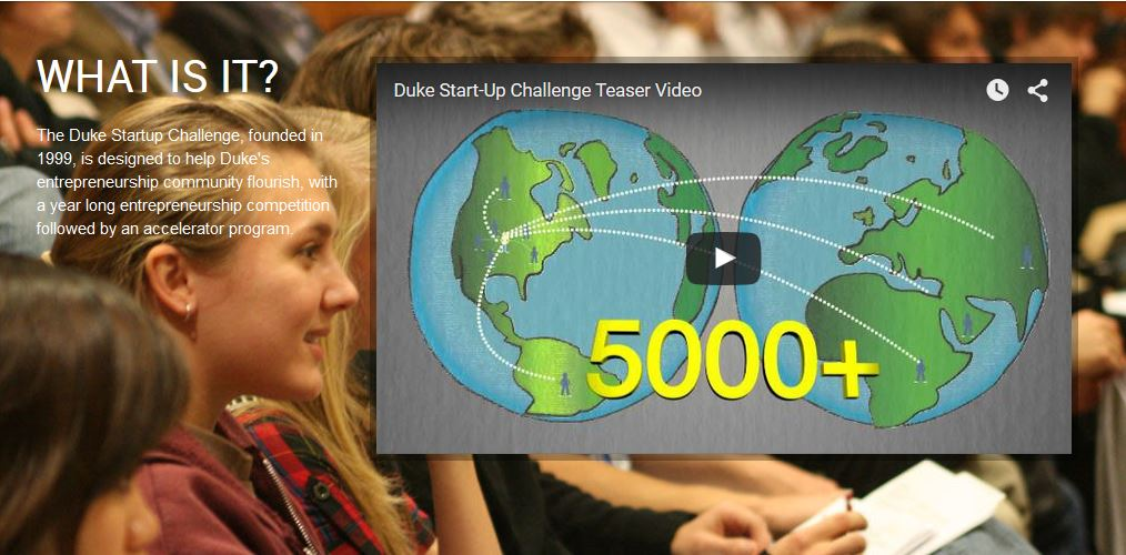 People with display at Duke Startup Challenge