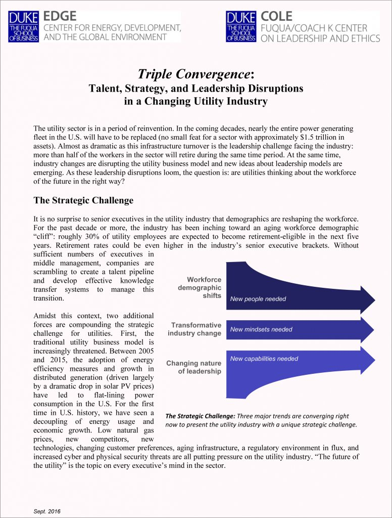 Paper - Triple Convergence: Talent, Strategy, and Leadership Disruptions in a Changing Utility Industry
