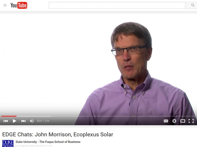 Video: John Morrison, COO of Ecoplexus Solar