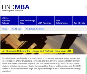 FIND MBA Top Business Schools for Energy 2017
