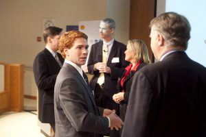 Students & executives mingle at an event hosted by Time/Fortune, Shell, and EDGE