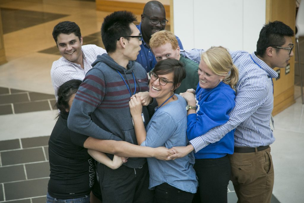 """Duke Health Sector Management students take part in team-building exercises during the program's """"bootcamp"""" at the Fuqua School of Business."""